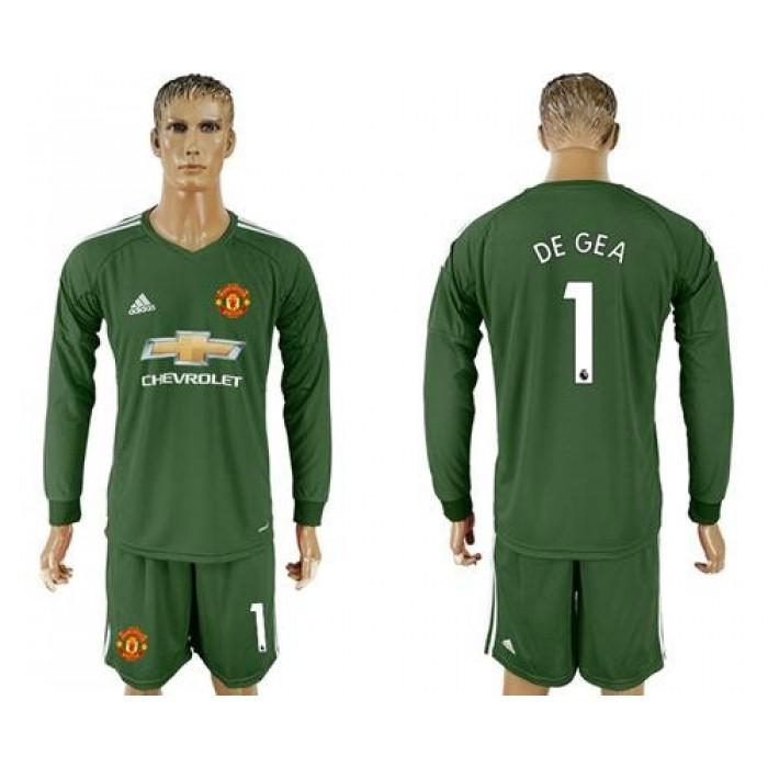 Manchester United #1 De Gea Green Goalkeeper Long Sleeves Soccer Club Jersey
