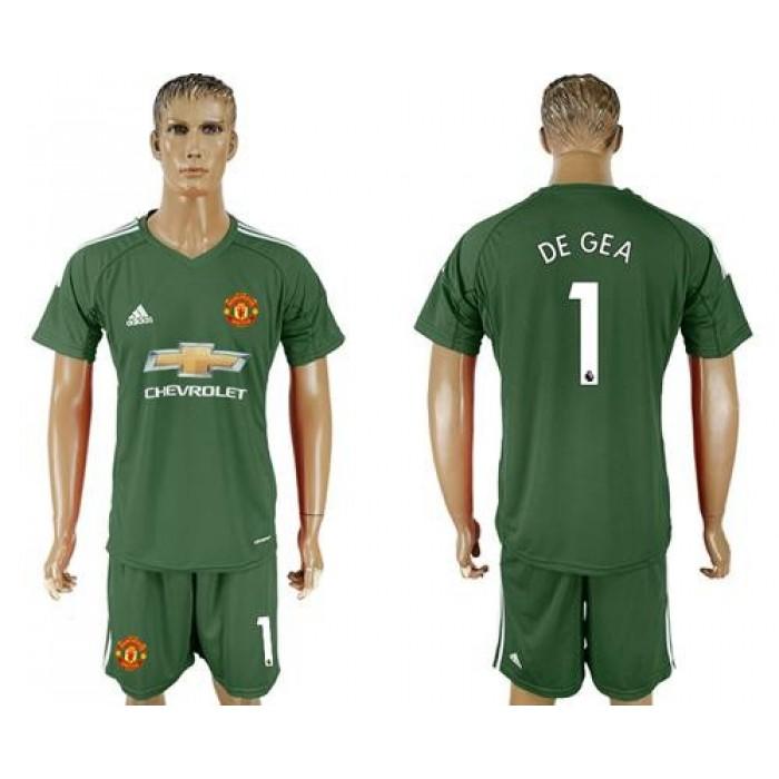 Manchester United #1 De Gea Green Goalkeeper Soccer Club Jersey