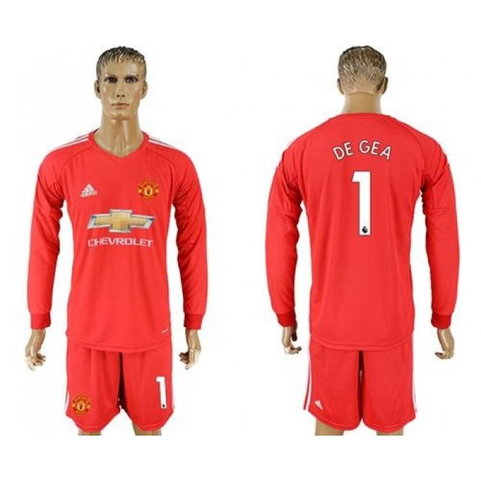 Manchester United #1 De Gea Red Goalkeeper Long Sleeves Soccer Club Jersey