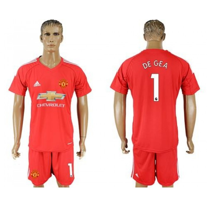 Manchester United #1 De Gea Red Goalkeeper Soccer Club Jersey