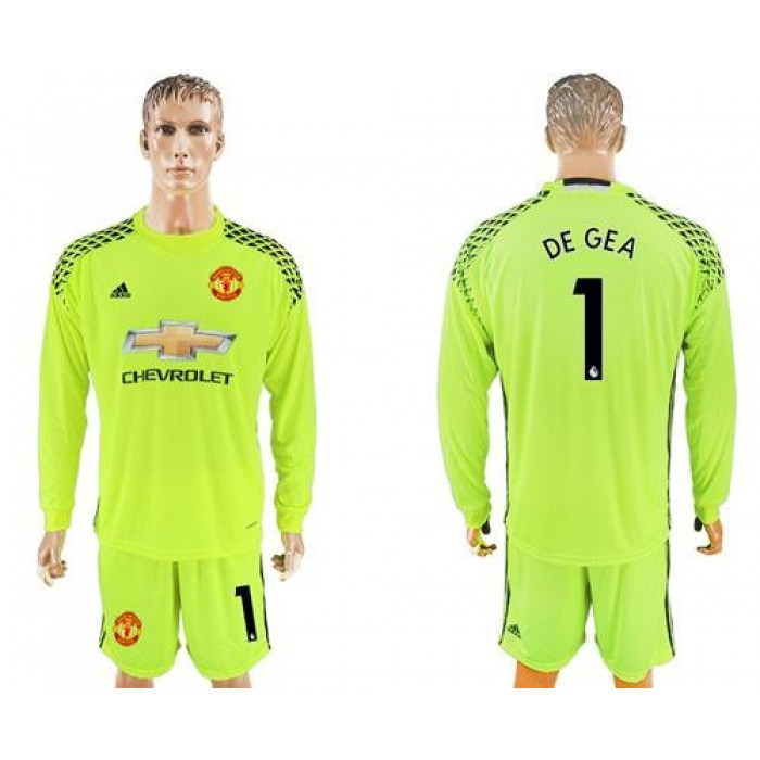 Manchester United #1 De Gea Shiny Green Goalkeeper Long Sleeves Soccer Club Jersey