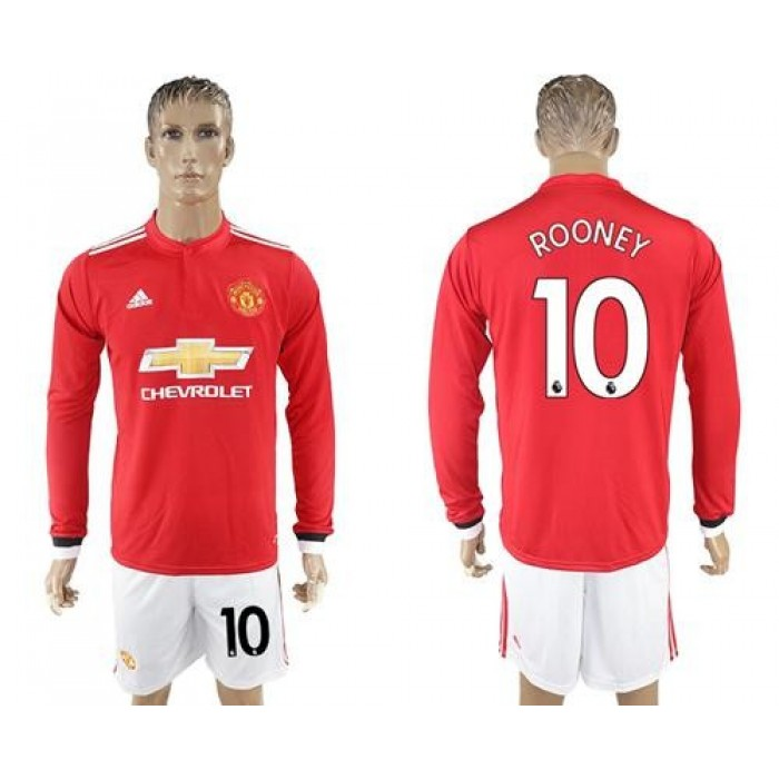 Manchester United #10 Rooney Red Home Long Sleeves Soccer Club Jersey