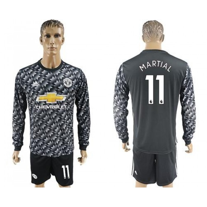 Manchester United #11 Martial Black Long Sleeves Soccer Club Jersey