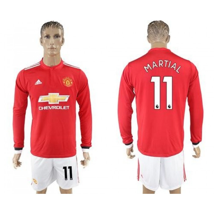 Manchester United #11 Martial Red Home Long Sleeves Soccer Club Jersey