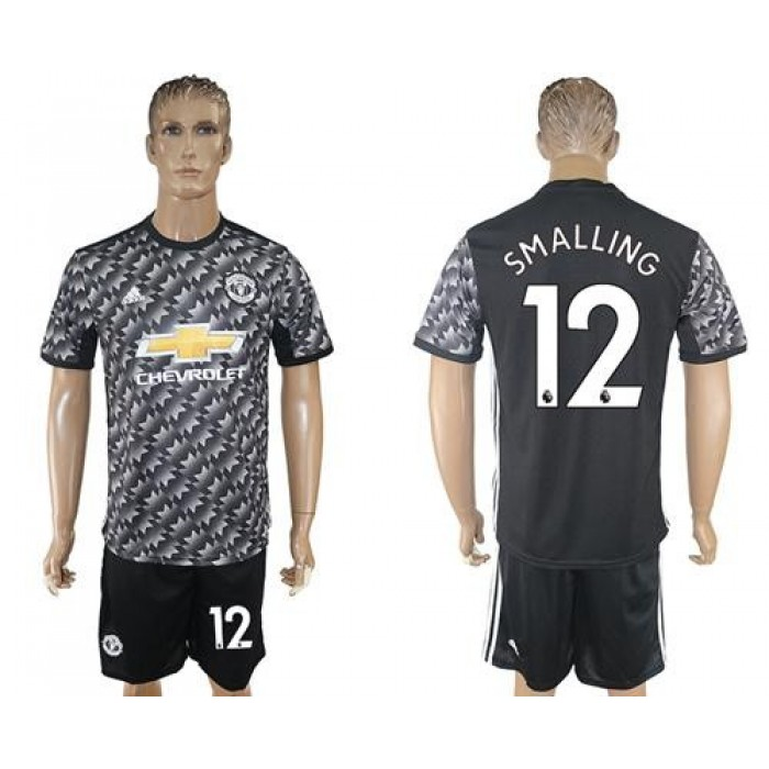 Manchester United #12 Smalling Black Soccer Club Jersey