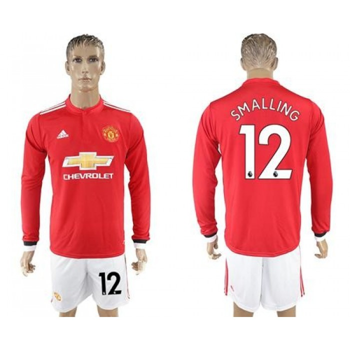 Manchester United #12 Smalling Red Home Long Sleeves Soccer Club Jersey