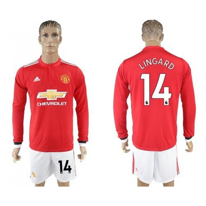Manchester United #14 Lingard Red Home Long Sleeves Soccer Club Jersey