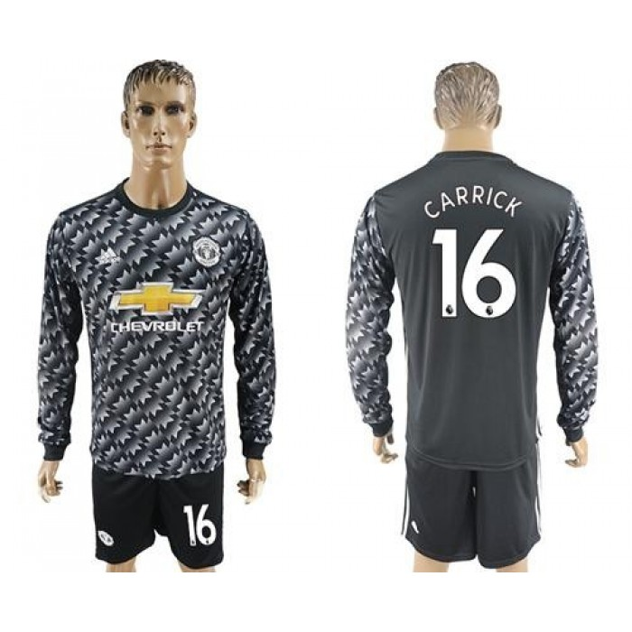 Manchester United #16 Carrick Black Long Sleeves Soccer Club Jersey