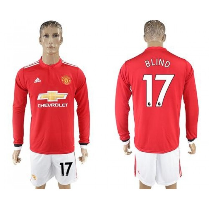 Manchester United #17 Blind Red Home Long Sleeves Soccer Club Jersey