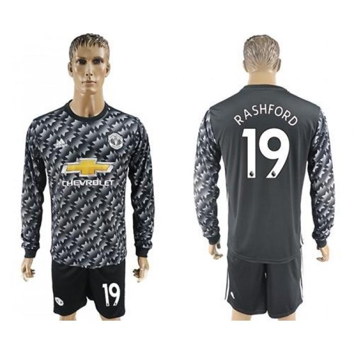 Manchester United #19 Rashford Black Long Sleeves Soccer Club Jersey