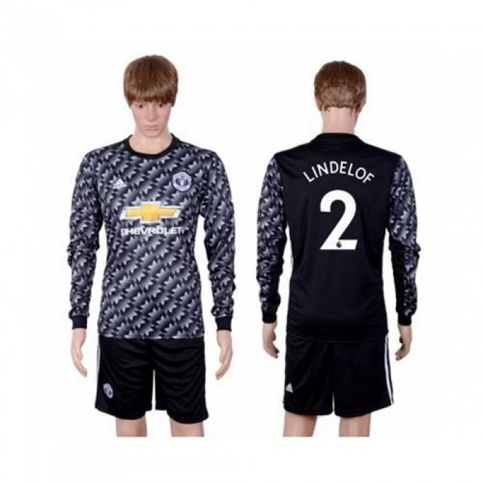 Manchester United #2 Lindelof Black Long Sleeves Soccer Club Jersey
