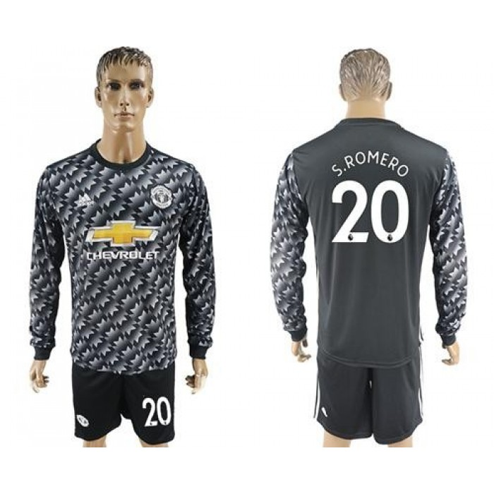 Manchester United #20 S.Romero Black Long Sleeves Soccer Club Jersey