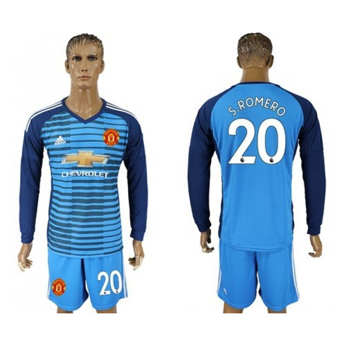 Manchester United #20 S.Romero Blue Long Sleeves Soccer Club Jersey