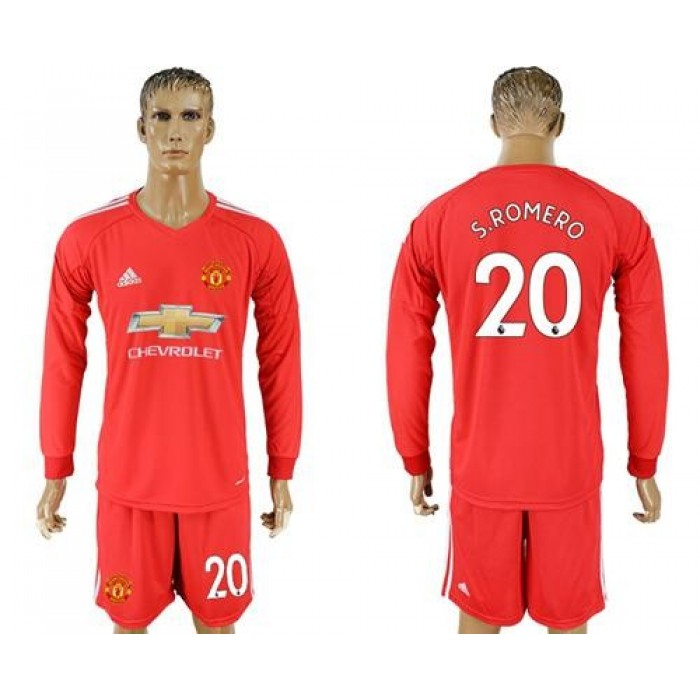 Manchester United #20 S.Romero Red Goalkeeper Long Sleeves Soccer Club Jersey