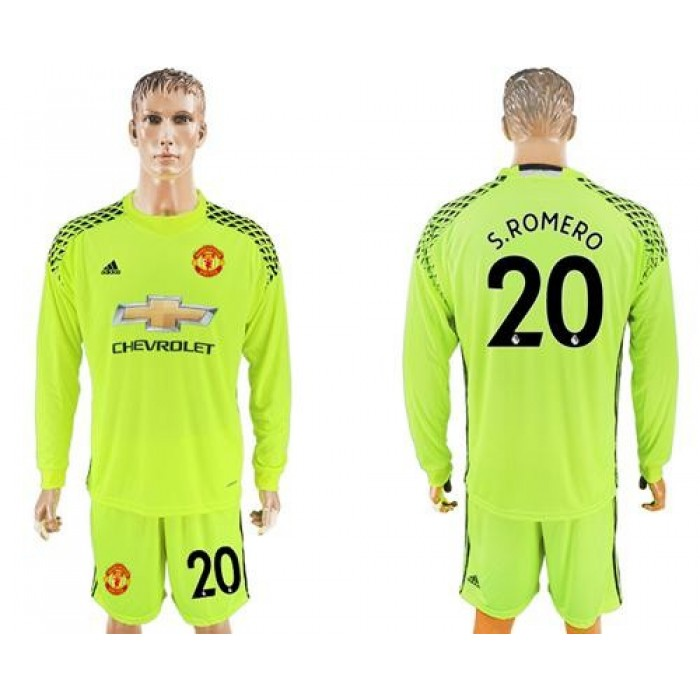 Manchester United #20 S.Romero Shiny Green Goalkeeper Long Sleeves Soccer Club Jersey