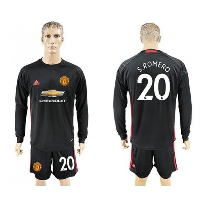 Manchester United #20 Sromero Black Goalkeeper Long Sleeves Soccer Club Jersey