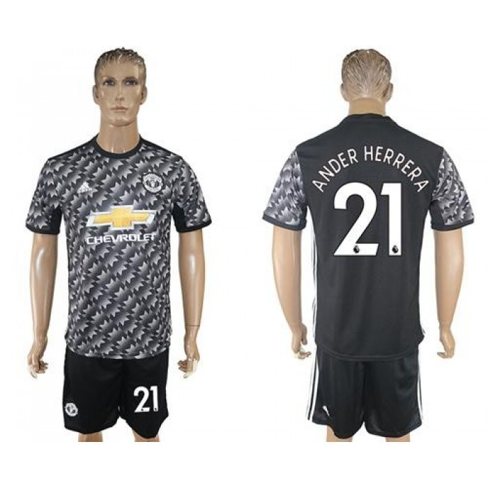 Manchester United #21 Ander Herrera Black Soccer Club Jersey