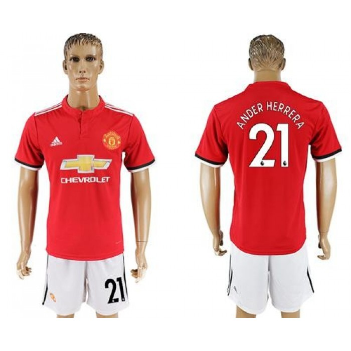 Manchester United #21 Ander Herrera Red Home Soccer Club Jersey