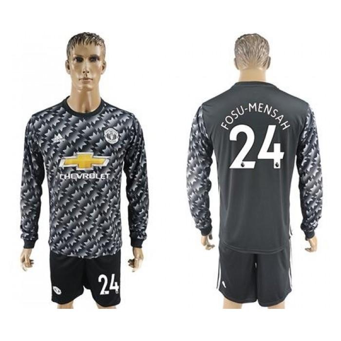 Manchester United #24 Fosu-Mensah Black Long Sleeves Soccer Club Jersey