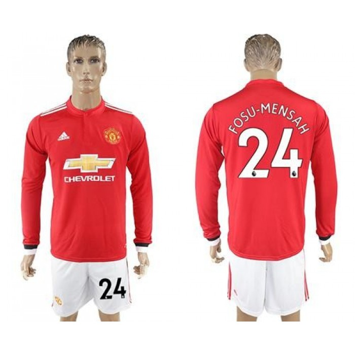 Manchester United #24 Fosu-Mensah Red Home Long Sleeves Soccer Club Jersey