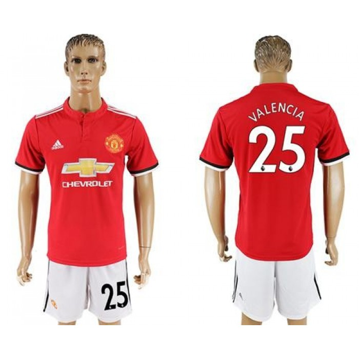Manchester United #25 Valencia Red Home Soccer Club Jersey