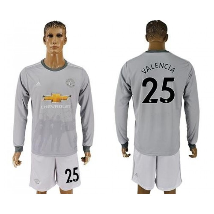 Manchester United #25 Valencia Sec Away Long Sleeves Soccer Club Jersey