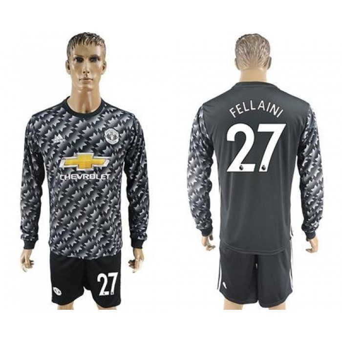 Manchester United #27 Fellaini Black Long Sleeves Soccer Club Jersey