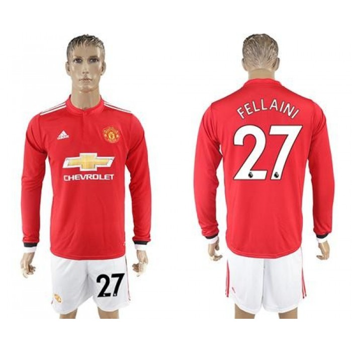 Manchester United #27 Fellaini Red Home Long Sleeves Soccer Club Jersey