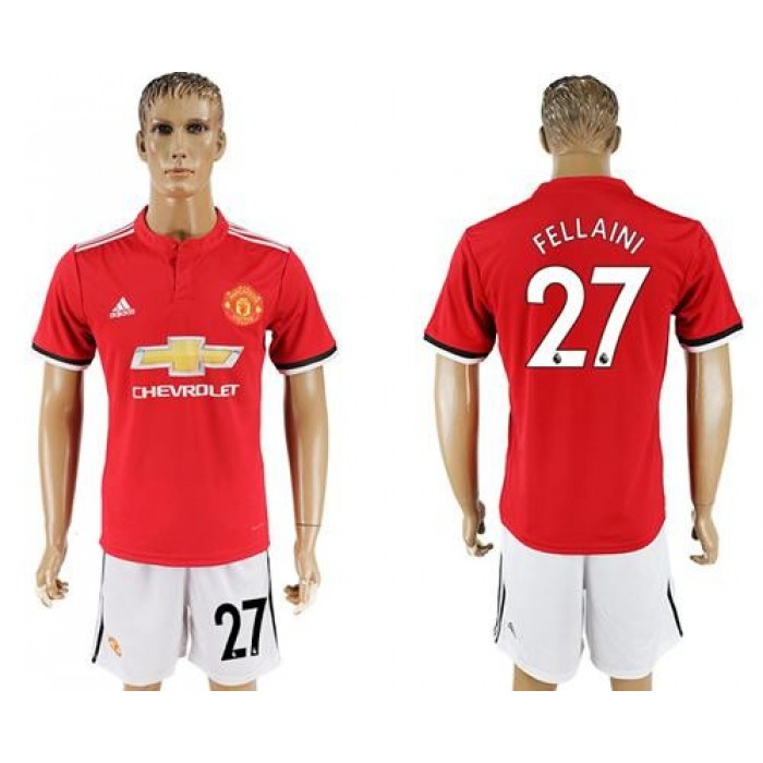 Manchester United #27 Fellaini Red Home Soccer Club Jersey