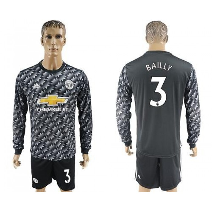 Manchester United #3 Bailly Black Long Sleeves Soccer Club Jersey