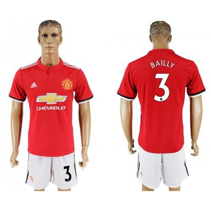 Manchester United #3 Bailly Red Home Soccer Club Jersey