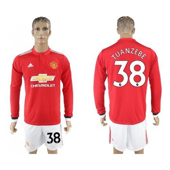 Manchester United #38 Tuanzebe Red Home Long Sleeves Soccer Club Jersey