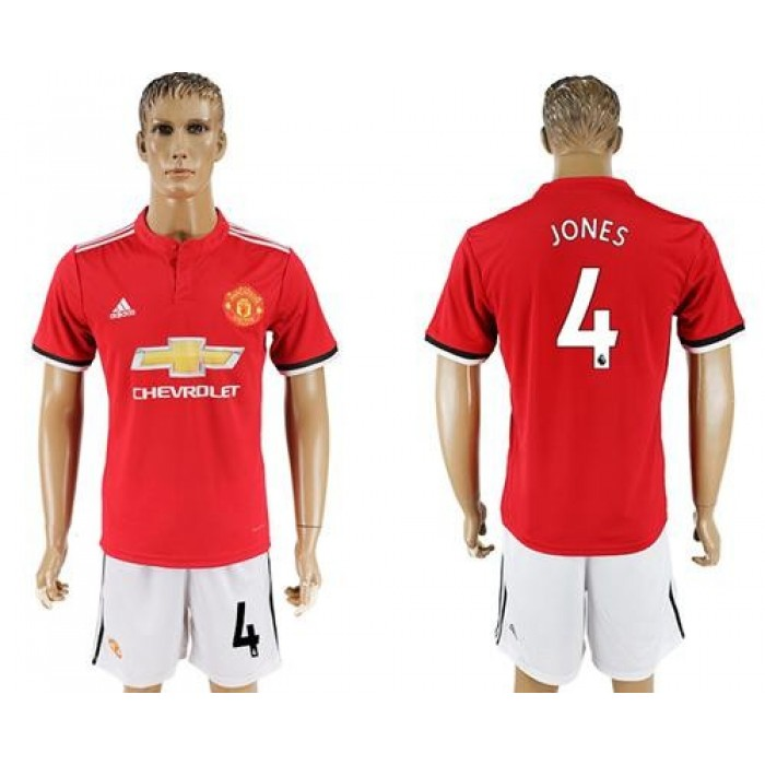 Manchester United #4 Jones Red Home Soccer Club Jersey