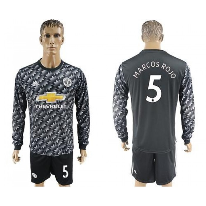 Manchester United #5 Marcos Rojo Black Long Sleeves Soccer Club Jersey
