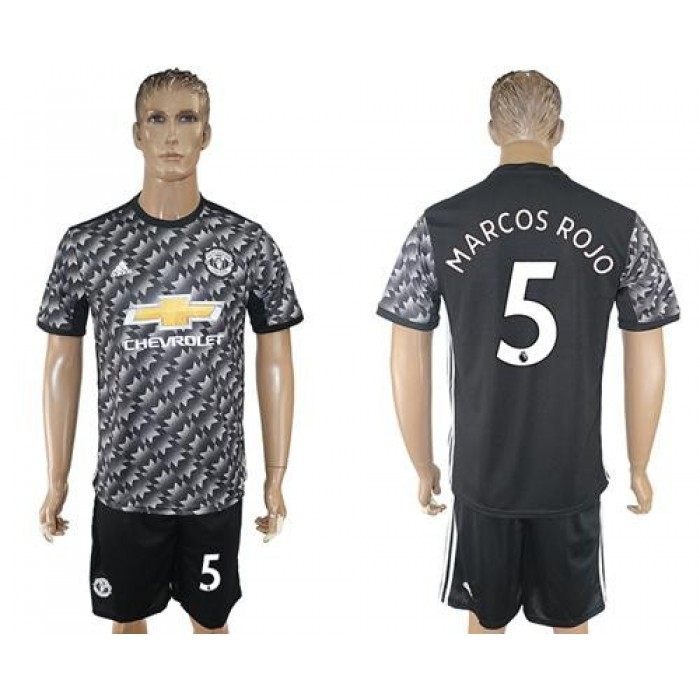 Manchester United #5 Marcos Rojo Black Soccer Club Jersey