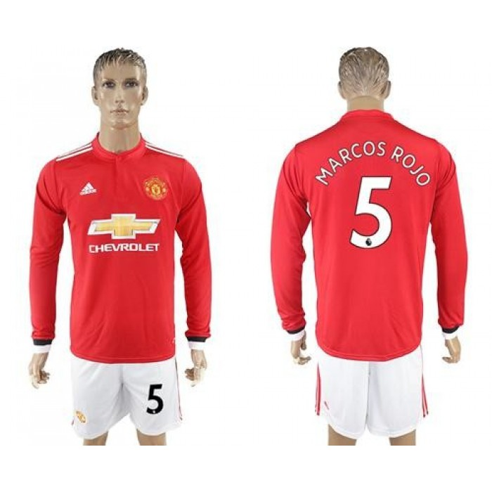 Manchester United #5 Marcos Rojo Red Home Long Sleeves Soccer Club Jersey