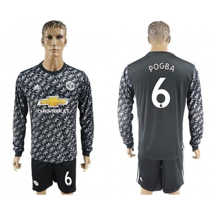 Manchester United #6 Pogba Black Long Sleeves Soccer Club Jersey