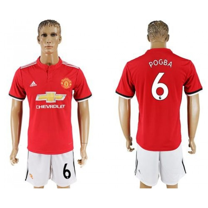 Manchester United #6 Pogba Red Home Soccer Club Jersey