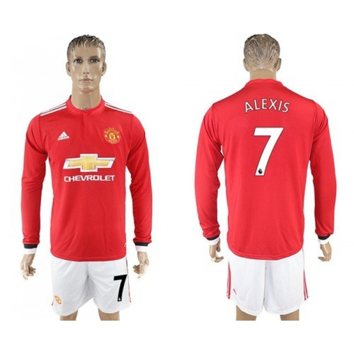 Manchester United #7 Alexis Home Long Sleeves Soccer Club Jersey