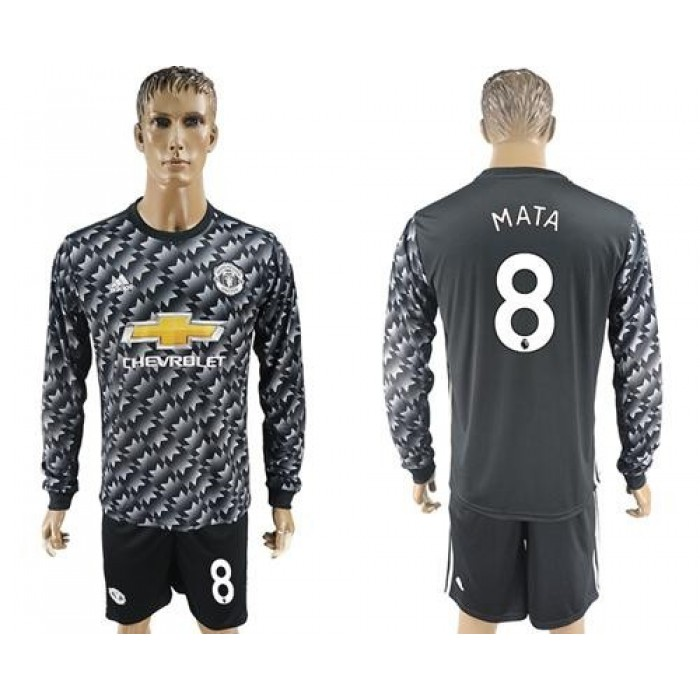 Manchester United #8 Mata Black Long Sleeves Soccer Club Jersey