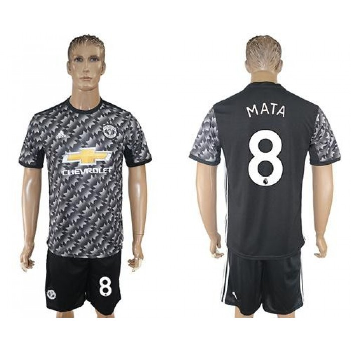Manchester United #8 Mata Black Soccer Club Jersey