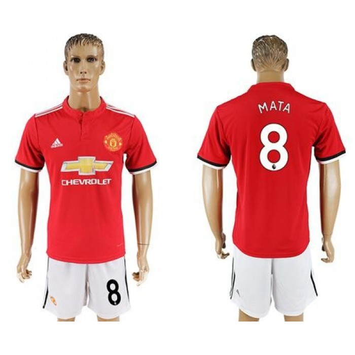 Manchester United #8 Mata Red Home Soccer Club Jersey