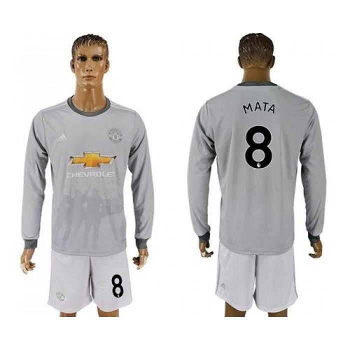 Manchester United #8 Mata Sec Away Long Sleeves Soccer Club Jersey