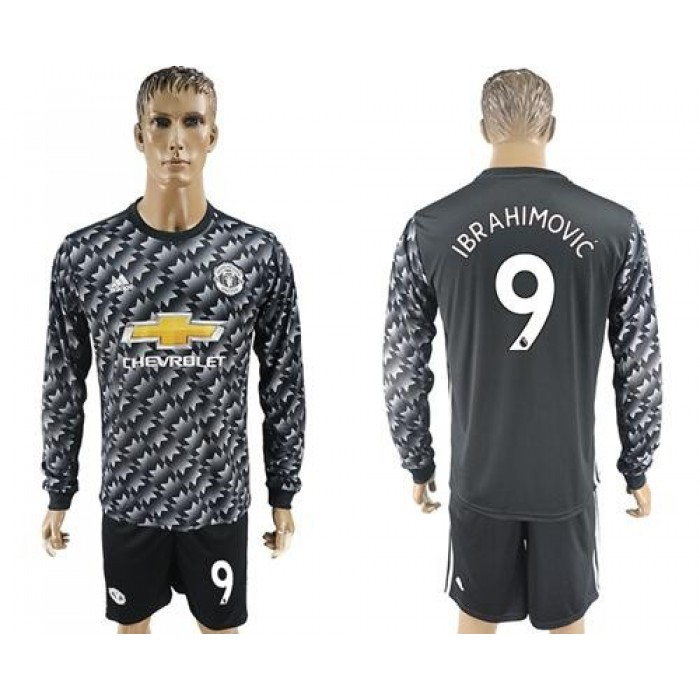 Manchester United #9 Ibrahimovic Black Long Sleeves Soccer Club Jersey