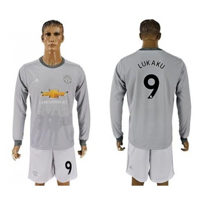 Manchester United #9 Lukaku Sec Away Long Sleeves Soccer Club Jersey