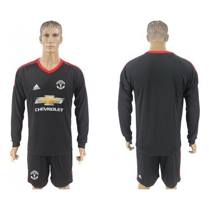 Manchester United Blank Black Goalkeeper Long Sleeves Soccer Club Jersey