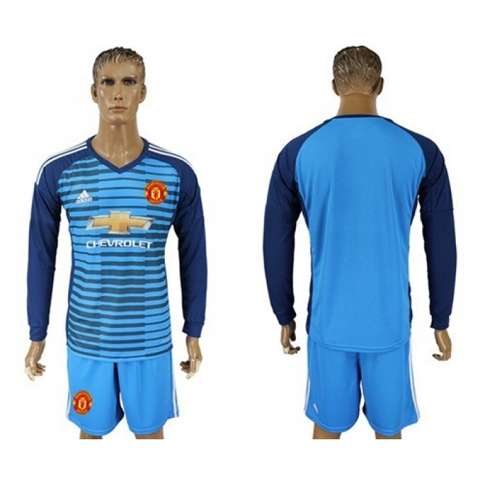 Manchester United Blank Blue Long Sleeves Soccer Club Jersey
