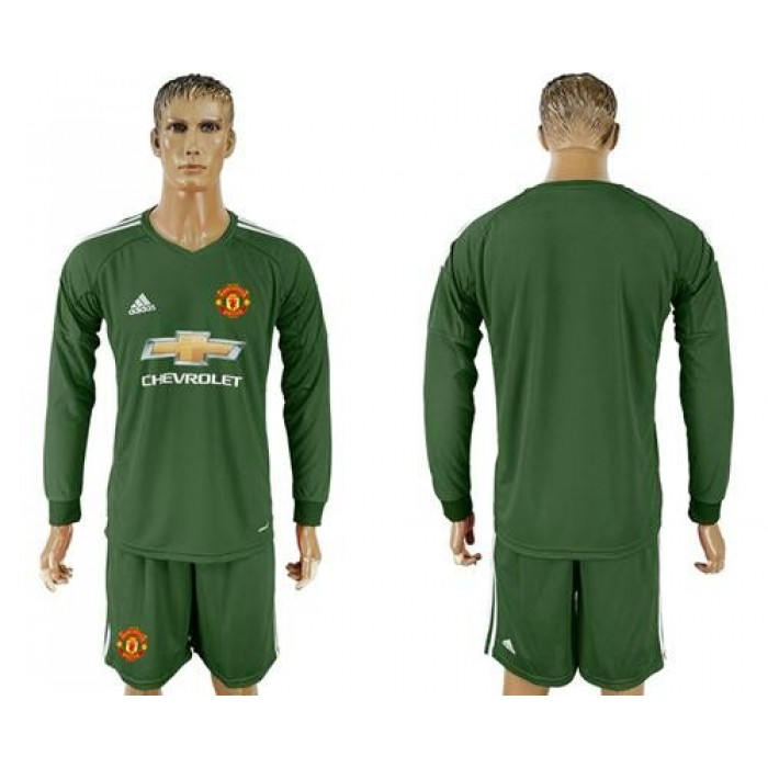 Manchester United Blank Green Goalkeeper Long Sleeves Soccer Club Jersey