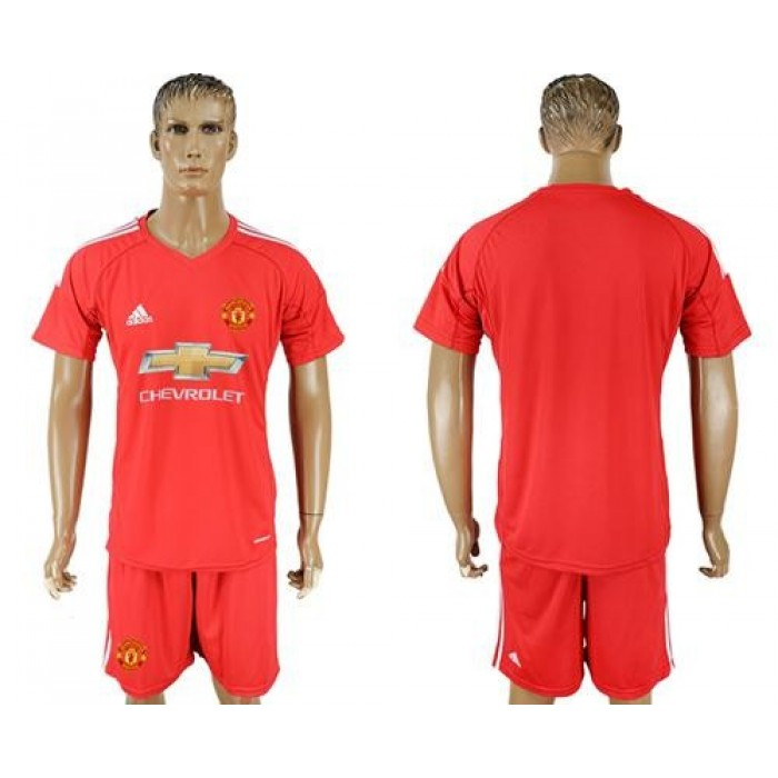Manchester United Blank Red Goalkeeper Soccer Club Jersey