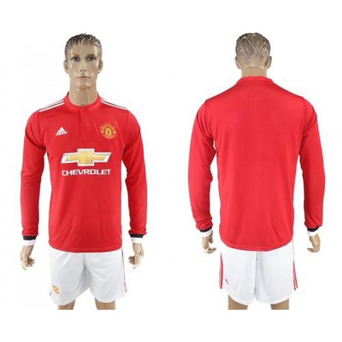Manchester United Blank Red Home Long Sleeves Soccer Club Jersey